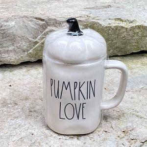 Rae Dunn PUMPKIN LOVE Mug with Pumpkin Topper